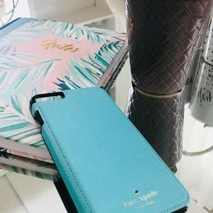 ♠️Kate Spade Leather turquoise iPhone 6 Plus Case
